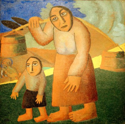 Woman with Buckets and Child - Kazimierz Malewicz