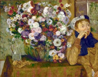 Woman with crysanthemums - Edgar Degas