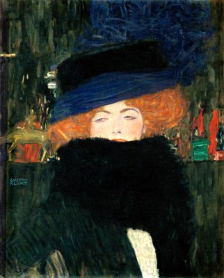 WOMAN WITH HAT AND FEATHER BOA - Gustav Klimt