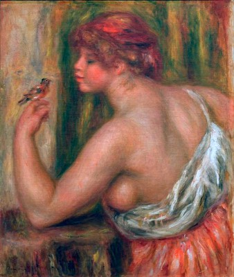 Woman with Little Bird - Pierre Renoir