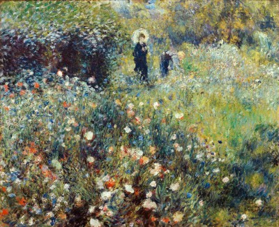 Woman with parasol in a garden - Pierre Renoir