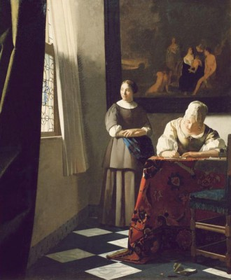 Woman writing a letter and maid - Jan Vermeer