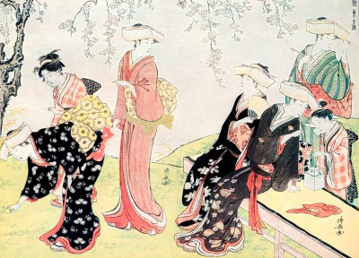 Women picking flowers - Torii Kiyonaga