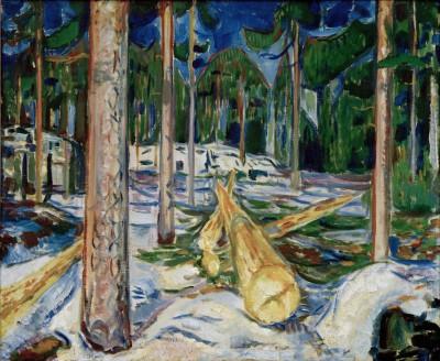 Yellow tree trunk - Edvard Munch