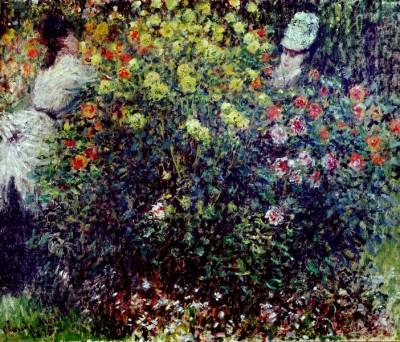Young girls in a dahlia field - Claude Monet