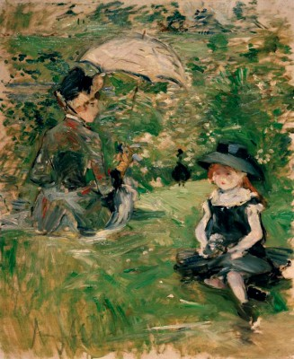 Young woman and child on the island - Berthe Morisot