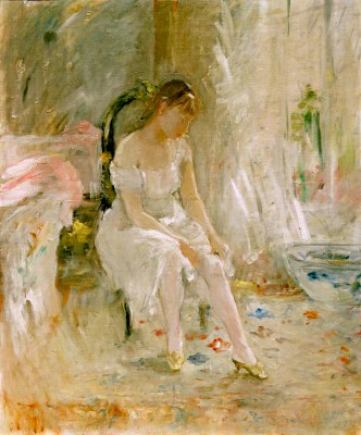 Young woman putting on stockings - Berthe Morisot