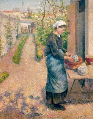 Young woman washing dishes - Camille Pissarro