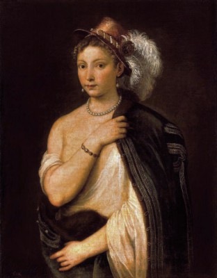 Young woman with plumed hat - Tycjan