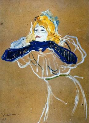 Yvette Guilbert singt Linger Longer Loo - Henri de Toulouse-Lautrec