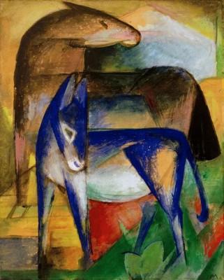Zwei blaue Esel - Franz Marc