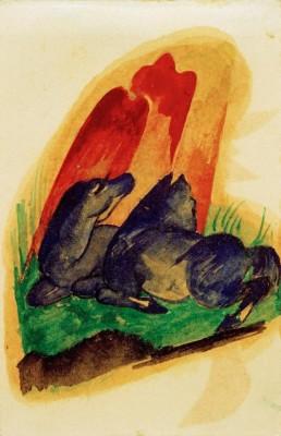 Zwei blaue Pferde vor rotem Felsen - Franz Marc