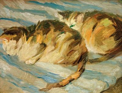 Zwei graue Katzen - Franz Marc