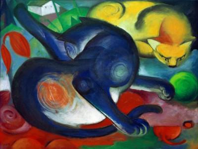 Zwei Katzen, blau und gelb - Franz Marc