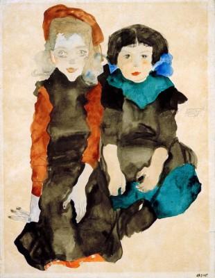 Zwei kauernde kleine Mädchen - Egon Schiele