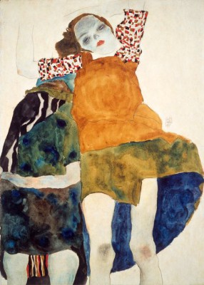Zwei Mädchen sitzend - Egon Schiele