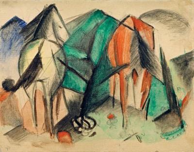 Zwei Pferde (5) - Franz Marc