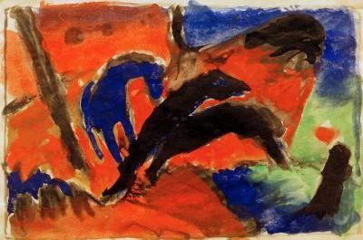 Zwei Pferde (Springende Pferde) - Franz Marc