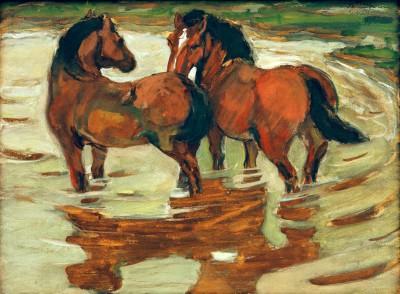 Zwei Pferde in der Schwemme - Franz Marc