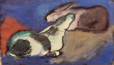 Zwei schlafende Hasen - Franz Marc