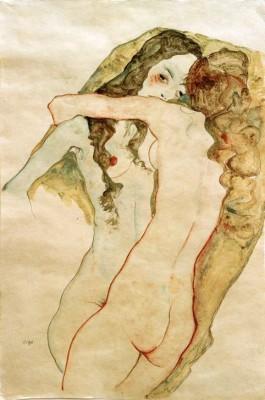 Zwei sich umarmende Frauen - Egon Schiele