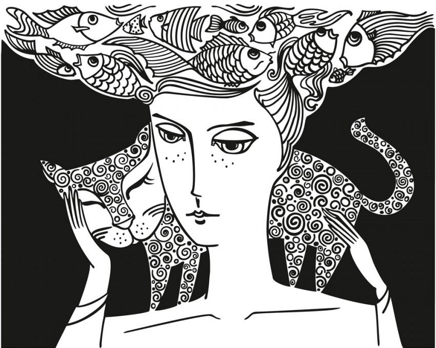 Obraz na płótnie 'Kobieta z kotem'