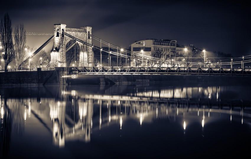Obraz na płótnie 'Most Grunwaldzki nocą'