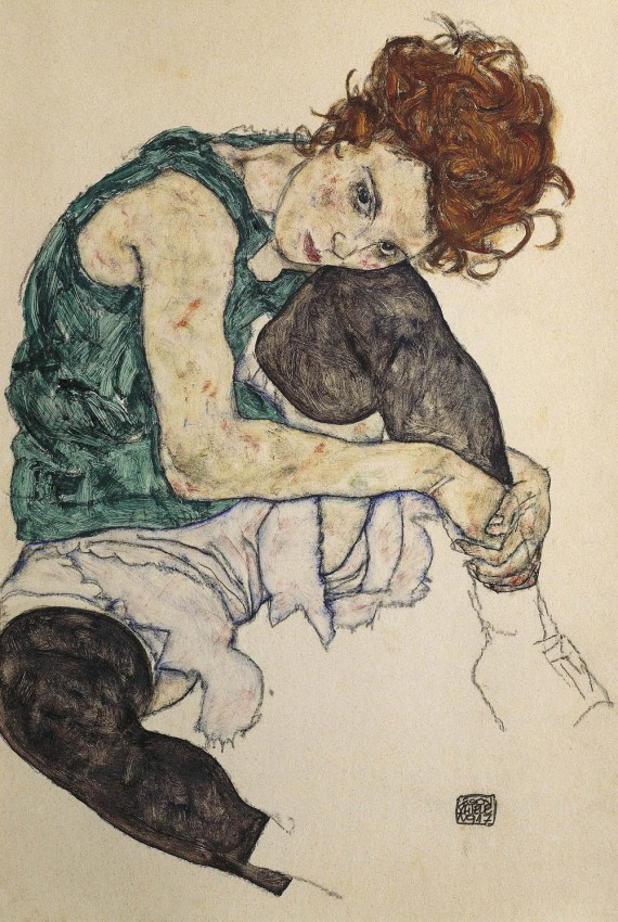 Reprodukcja 'SEATED WOMAN WITH BENT - EGON SCHIELE'