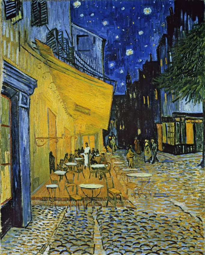 Naklejka 'TERRACE OF THE CAFE AT THE PLACE DU FORUM IN ARLES IN THE EVENING - VINCENT VAN GOGH'