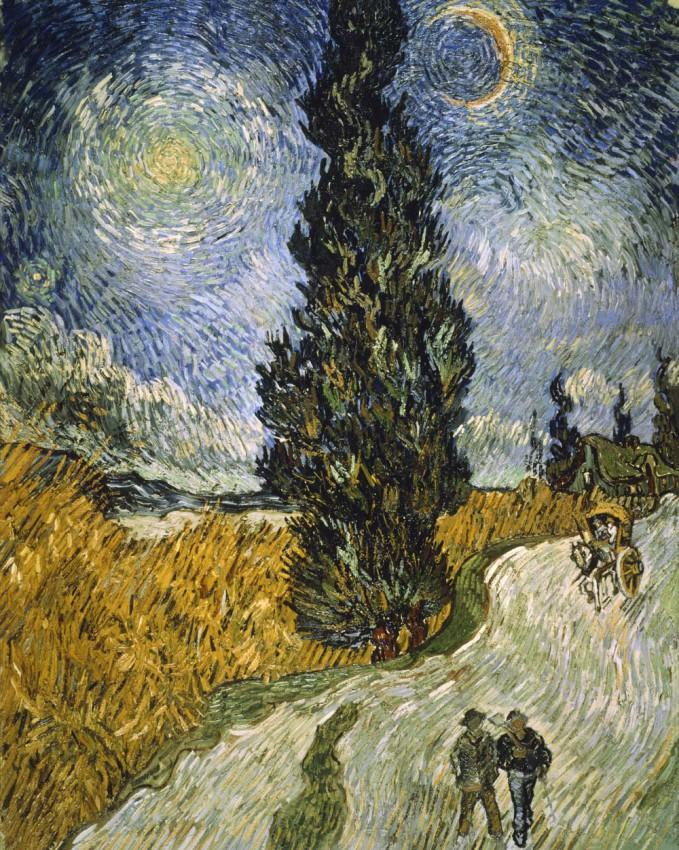 Reprodukcja na płótnie 'Cypress against a starry sky - Vincent van Gogh'